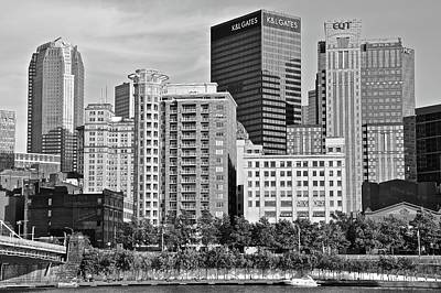 Photograph - Tower Over Pittsburgh In Black And White by Frozen in Time Fine Art Photography