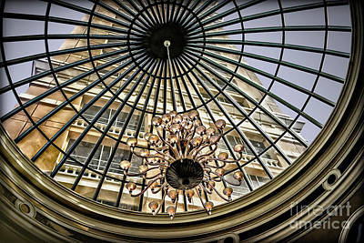 Photograph - Tower Through Glass Dome In Bellagio Ceiling by Walt Foegelle