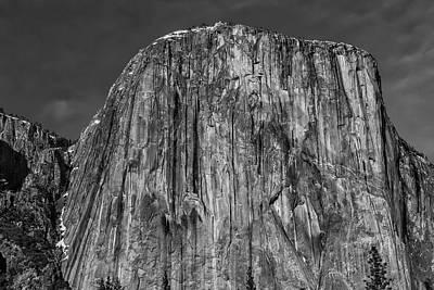 Towering El Capitan In Black And White Art Print