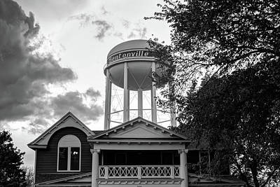 Photograph - Towering Over Downtown Bentonville - Northwest Arkansas - Black - White by Gregory Ballos