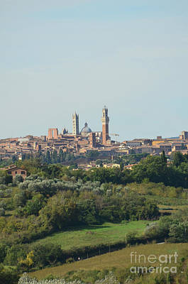 Towers Of Siena In Italy In The Distance Art Print by DejaVu Designs