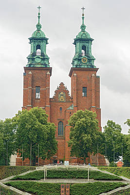 Photograph - towers of the Basilica Archdiocese in Gniezno by Marek Poplawski