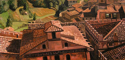 San Gimignano Painting - Town And Country by Jennie Traill Schaeffer