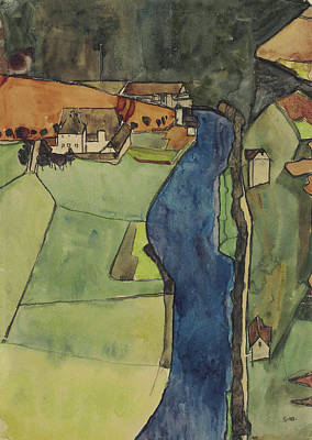 House Painting - Town At The Blue River, Krumau by Egon Schiele