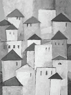 Painting - Town Black And White by Lutz Baar