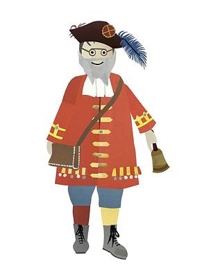 Figure Mixed Media - Town Crier by Isoebl Barber