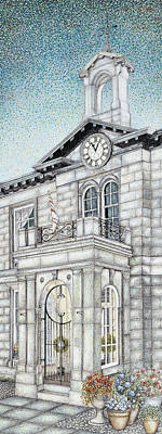 Brick Building Drawing - Town Hall Clock Kirkby Lonsdale Cumbria by Sandra Moore