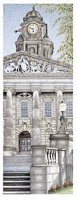 Brick Building Drawing - Town Hall Clock  Lancaster  Lancashire by Sandra Moore
