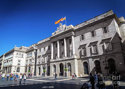 Photograph - Town Hall Government Building At Sant Jaume Square Barcelona Spa by Jacek Malipan