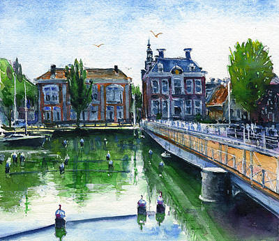 Painting - Town Hall Harlingen Netherlands by John D Benson