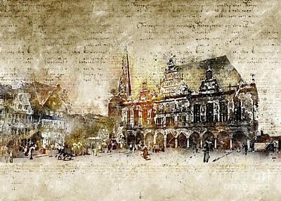 Digital Art - town hall in Bremen by Michael Kuelbel