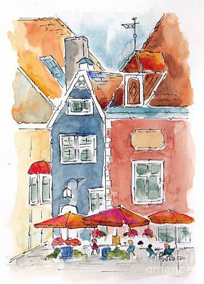 Painting - Town Hall Square Tallin Estonia by Pat Katz
