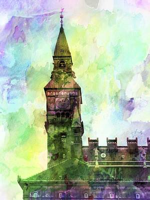 Digital Art - Town Hall Tower Copenhagen by Dorothy Berry-Lound