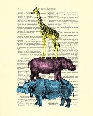 Safari Animals Town Musicians Of Bremen Parody Art Print by Madame Memento