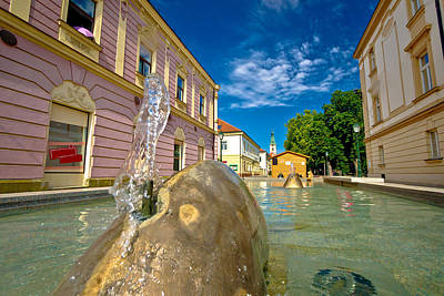 Railroad - Town of Bjelovar fountain and square view by Brch Photography