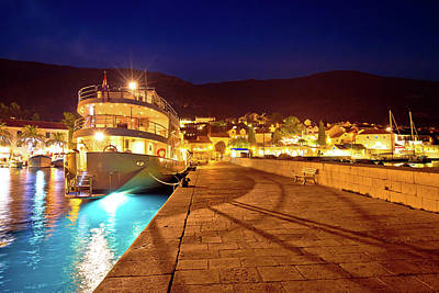 Photograph - Town Of Bol On Brac Island Harbor At Blue Hour View by Brch Photography