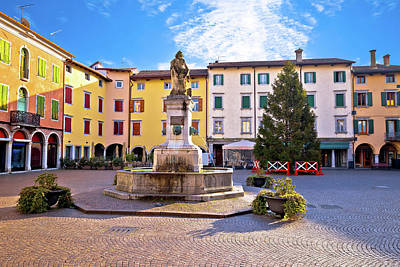 Wine Corks Royalty Free Images - Town of Cividale del Friuli colorful Italiaan square view Royalty-Free Image by Brch Photography