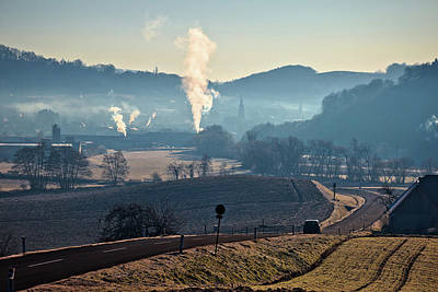 Photograph - Town Of Gnas Landscape In Fog View by Brch Photography