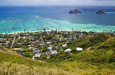 Town Of Kailua With Mokulua Islands Art Print