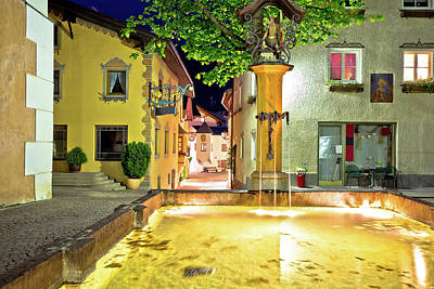 Photograph - Town Of Kastelruth Fountain And Street Evening View by Brch Photography