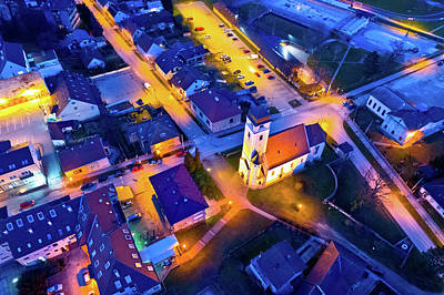 Photograph - Town Of Krizevci Church And Square Aerial Night View by Brch Photography