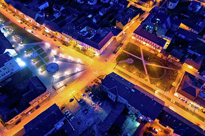 Photograph - Town Of Krizevci Main Square Aerial Night View by Brch Photography