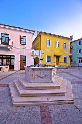 Photograph - Town Of Krk Historic Main Square Stone Well View by Brch Photography