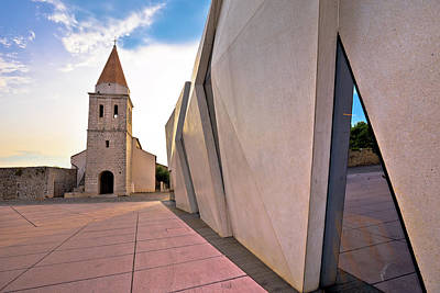 Photograph - Town Of Krk Historic Square Church And Modern Architecture View by Brch Photography