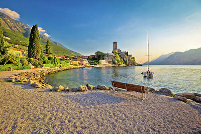 Photograph - Town Of Malcesine Castle And Beach View by Brch Photography