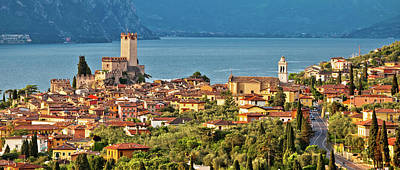 Photograph - Town Of Malcesine On Lago Di Garda Historic Skyline Panoramic Vi by Brch Photography