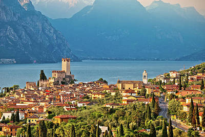 Photograph - Town Of Malcesine On Lago Di Garda Historic Skyline View by Brch Photography