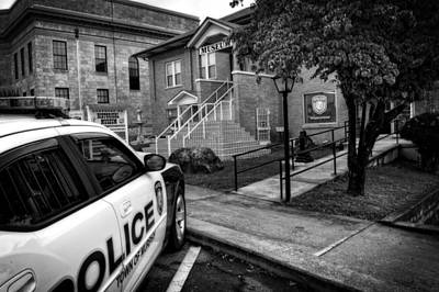 County Police Photograph - Town Of Murphy Police In Black And White by Greg Mimbs