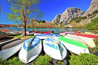 Photograph - Town Of Omis Boats On Cetina River View by Brch Photography