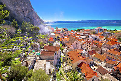 Photograph - Town Of Omis Coast And Rooftops Panoramic View by Brch Photography