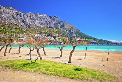 Photograph - Town Of Omis Sand Beach And Biokovo Mountain Coastline View by Brch Photography