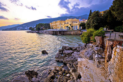Photograph - Town Of Opatija Waterfront Dramatic Sky View by Brch Photography