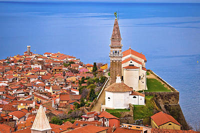 Lady Bug - Town of Piran on Adriatic sea historic landmarks and rooftops vi by Brch Photography