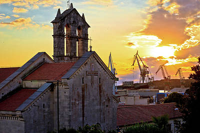 Photograph - Town Of Pula Stone Church And Shipyard Cranes Sunset View by Brch Photography