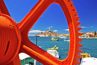 Photograph - Town Of Rovinj Waterfront View Through Rusty Boat Ramp by Brch Photography
