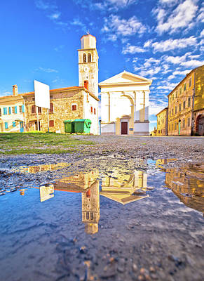 Photograph - Town Of Vizinada Old Cobbled Square Water Reflection View by Brch Photography