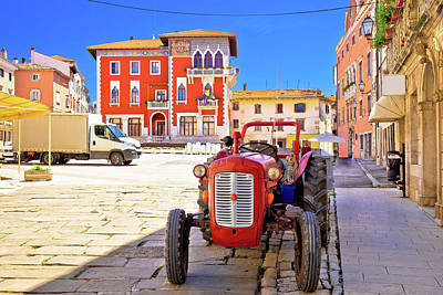 Photograph - Town Of Vodnjan Colorful Square And Old Tractor View by Brch Photography