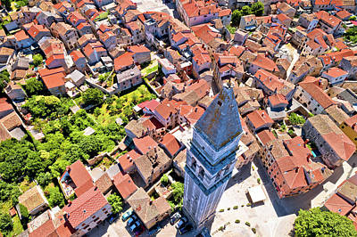 Photograph - Town Of Vodnjan Tower And Rooftops Aerial View by Brch Photography