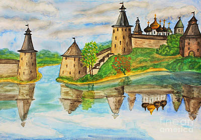 Painting - Town Pskov In Russia, Hand Drawn Painting by Irina Afonskaya
