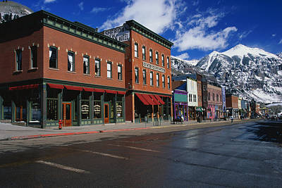 Town Stores Telluride Co Art Print by Panoramic Images