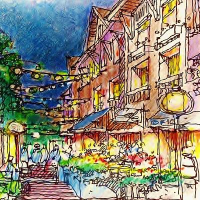Drawing - Towncenter 3 by Andrew Drozdowicz