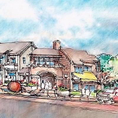 Drawing - Towncenter 6 by Andrew Drozdowicz