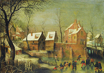 Painting - Townscape With Skaters On A Frozen River  by Jacob Grimmer