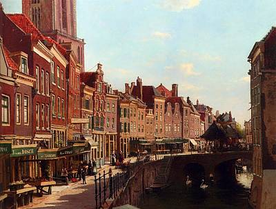 Netherlands Painting - Townsfolk Shopping Along The Oudegracht by Mountain Dreams