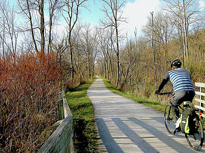 Photograph - Towpath Cyclist by Linda Carruth