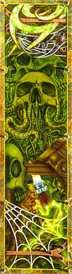 Airbrushed Art Mixed Media - Toxic Skull Combustion by Eric Bossert